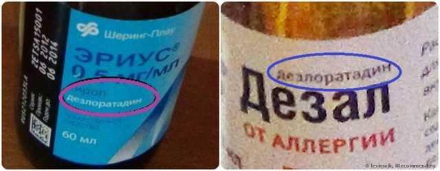 Действующее вещество сиропа Эриус для детей